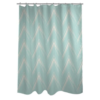 Sabrina Brush Chevron Shower Curtain Color: Fair Aqua