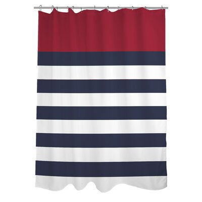 Nautical Striped Shower Curtain Color: Red
