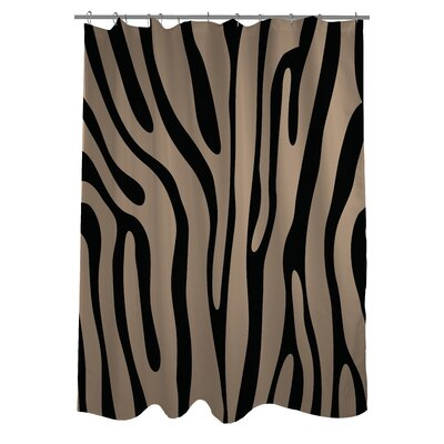 Zebra Print Shower Curtain Color: Black