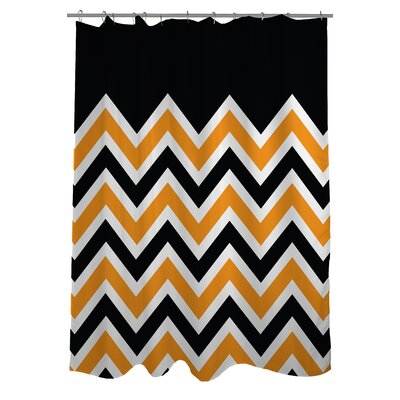 Chevron Solid Shower Curtain Color: Green
