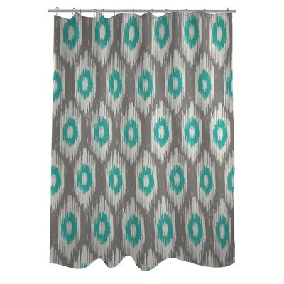 Kelly Ikat Shower Curtain Color: Gray/Turquoise