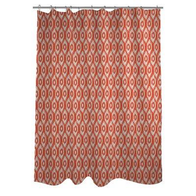 Kelly Ikat Shower Curtain Color: Orange/Ivory