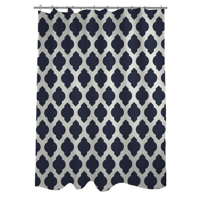 All Over Moroccan Shower Curtain Color: Navy/Ivory