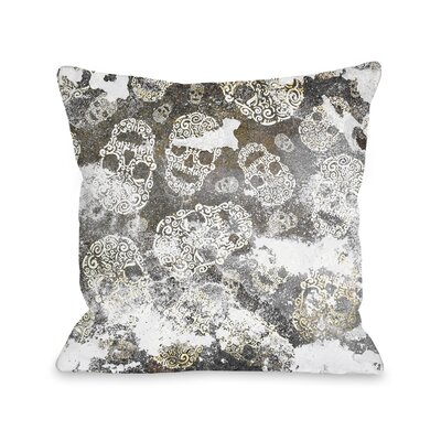 Stamped Skulls Throw Pillow Size: 16 H x 16 W x 3 D