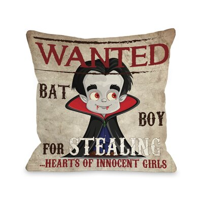 Wanted Bat Throw Pillow Size: 18 H x 18 W x 3 D