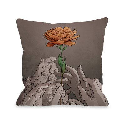 Orange Rose Throw Pillow Size: 16 H x 16 W x 3 D