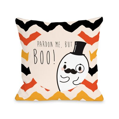 Fancy Ghost Boo Throw Pillow Size: 18 H x 18 W x 3 D
