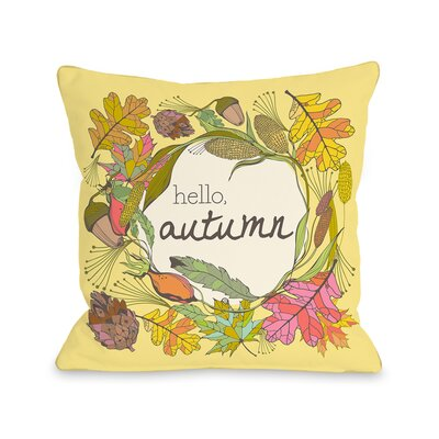Hello Autumn Throw Pillow Size: 16 H x 16 W x 3 D