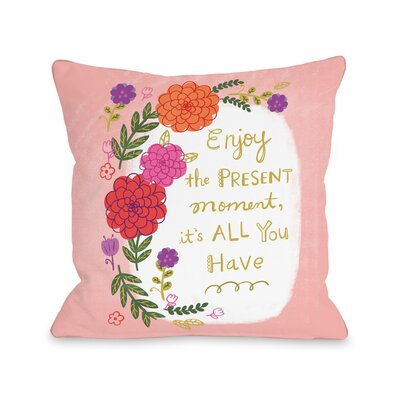 Happy Sentiments Throw Pillow Size: 16 H x 16 W x 3 D