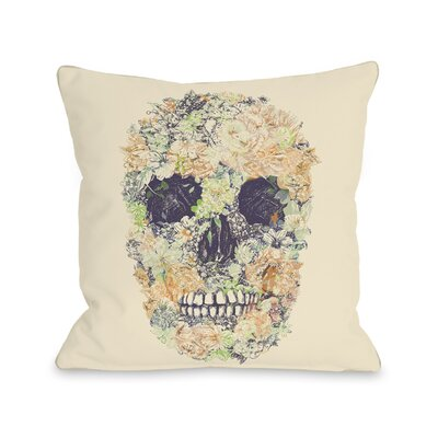 Dia Muertos Skull Flowers Throw Pillow