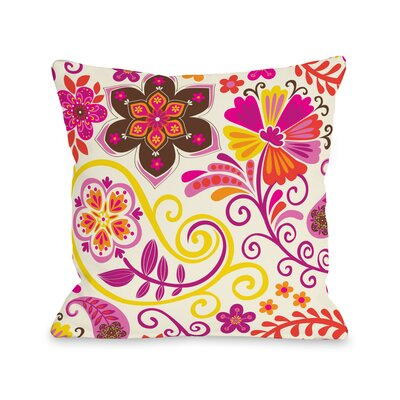 Bohemian Florals Throw Pillow Size: 16 H x 16 W x 3 D