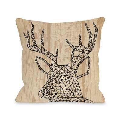 Geo Deer Throw Pillow Size: 18 H x 18 W x 3 D, Color: Sand