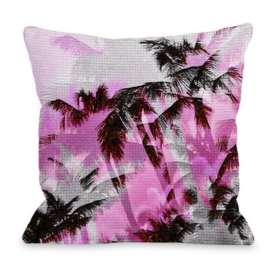 One Bella Casa Palm Tree Tile Texture Throw Pillow - Color: Pink