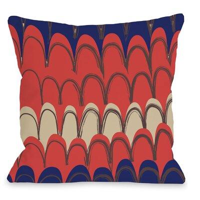 Mila Mountains Throw Pillow Color: Orange / Blue