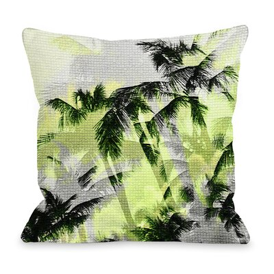 Palm Tree Tile Texture Throw Pillow Color: Yellow