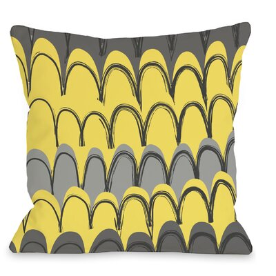 Mila Mountains Throw Pillow Color: Gray / Yellow