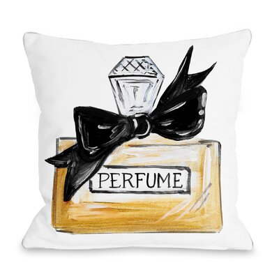 Bow Perfume Quilted Throw Pillow Color: Black