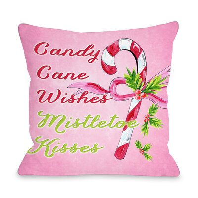 Candy Cane Wishes, Mistletoe Kisses Throw Pillow