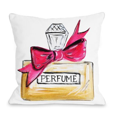 Bow Perfume Quilted Throw Pillow Color: Pink