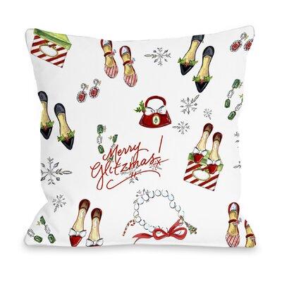 Merry Glitzmas Throw Pillow