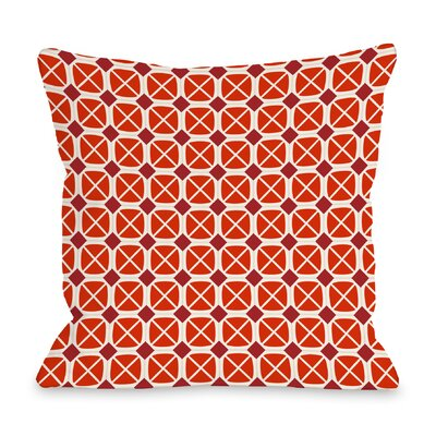 Abegayle Geo Throw Pillow Color: Red