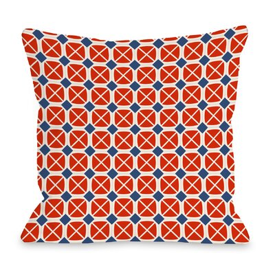 Abegayle Geo Throw Pillow Color: Red / Navy
