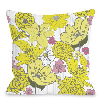 Oriental Flowers Throw Pillow Size: 16 H x 16 W x 3 D, Color: Yellow/Gray