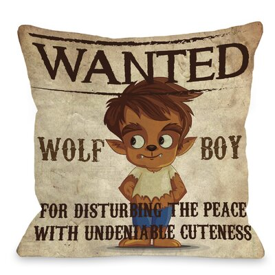 Wanted Wolf Boy Throw Pillow Size: 16 H x 16 W x 3 D