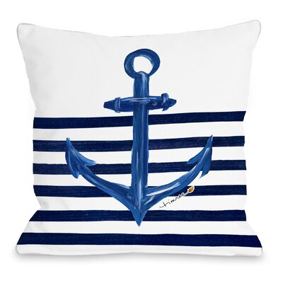 Anchor Half Stripe Throw Pillow Size: 16 H x 16 W x 3 D