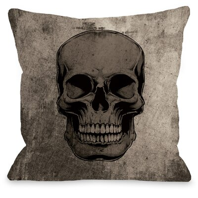 Skull Grunge Throw Pillow Size: 16 H x 16 W x 3 D