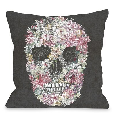 Dia Muertos Skull Flowers Throw Pillow Size: 18 H x 18 W x 3 D, Color: Grey Multi