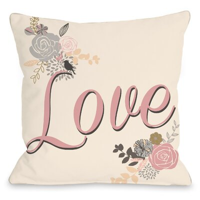 Love Reversed Throw Pillow Size: 16