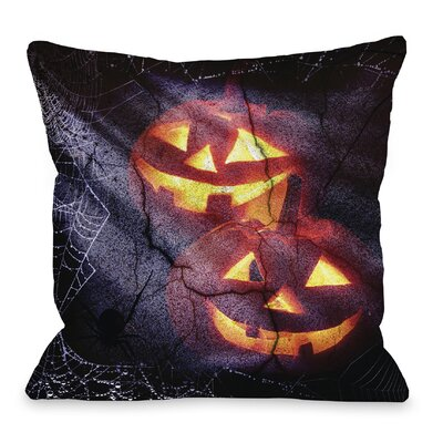 Pumpkins and Spiderwebs Throw Pillow Size: 18 H x 18 W x 3 D