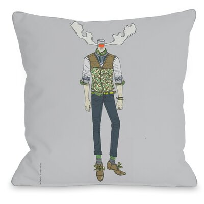 Antler Man Throw Pillow Size: 18 H x 18 W x 3 D