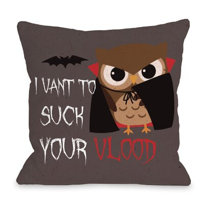 Vlood Sucking Owl Throw Pillow Size: 16 H x 16 W x 3 D