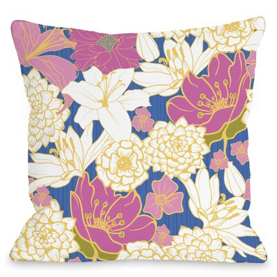 Ornate Florals Throw Pillow Size: 18 H x 18 W x 3 D, Color: Blue Multi