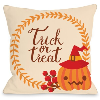 Trick or Treat Wreath Throw Pillow Size: 18 H x 18 W x 3 D