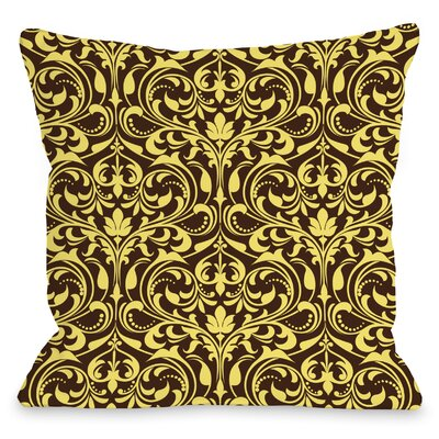 Athena Florals Throw Pillow Size: 18 H x 18 W x 3 D, Color: Espresso