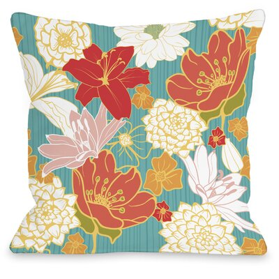 Oriental Flowers Throw Pillow Size: 16 H x 16 W x 3 D, Color: Turquoise Multi