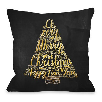 Merry Christmas Tree Metallic Chalkboard Throw Pillow Size: 18 H x 18 W x 3 D