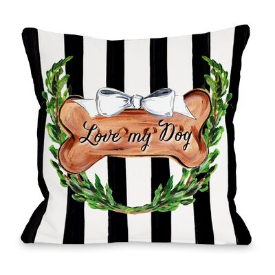 Love My Dog Bow Throw Pillow Size: 16 H x 16 W x 3 D