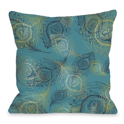 Amalia Peacock Throw Pillow Size: 18 H x 18 W x 3 D, Color: Teal