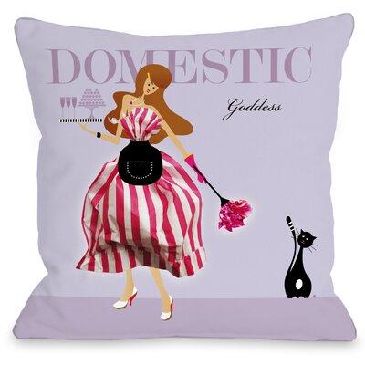 Domestic Goddess Throw Pillow Size: 18 H x 18 W x 3 D, Color: Lavender Multi
