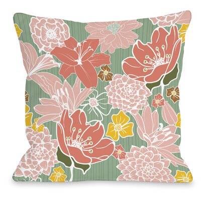 Oriental Flowers Throw Pillow Size: 16 H x 16 W x 3 D, Color: Green Multi