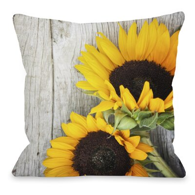 Fresh Picked Sunflowers Throw Pillow Size: 16 H x 16 W x 3 D