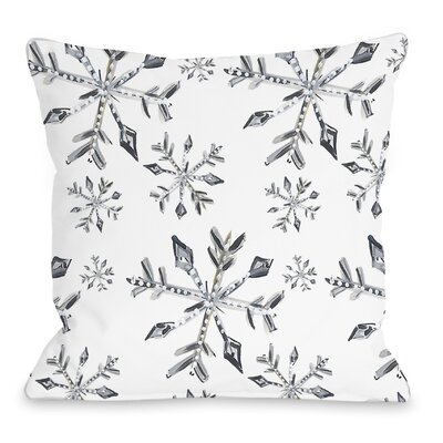 Silver Snowflake Throw Pillow Size: 16 H x 16 W x 3 D