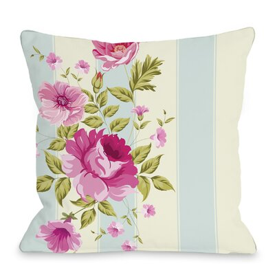 Shelby Stripe Rose Throw Pillow Size: 16