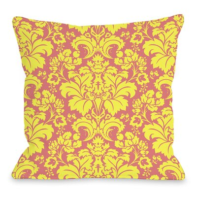 Altair Fleur Throw Pillow Size: 18 H x 18 W x 3 D, Color: Pink / Yellow