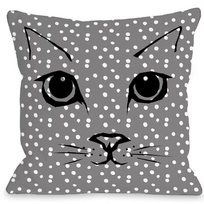 Cat Face Dots Throw Pillow Size: 18 H x 18 W x 3 D