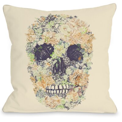 Dia Muertos Skull Flowers 2 Throw Pillow Size: 16 H x 16 W x 3 D